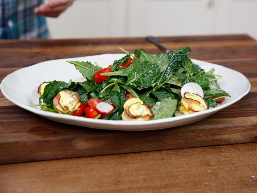 Baby Greens Salad with Ham Quiche Croutons and Maple-Cider Vinaigrette